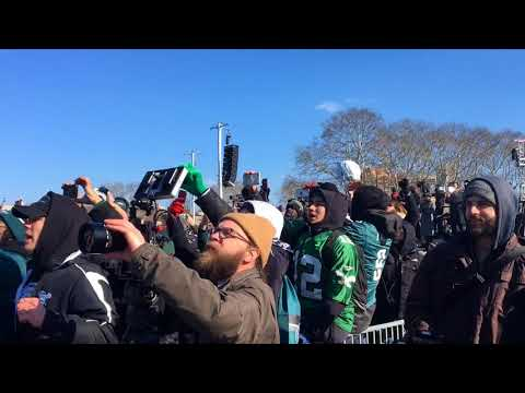 Philadelphia Eagles fans sing 'Fly, Eagles, Fly' at Super Bowl parade