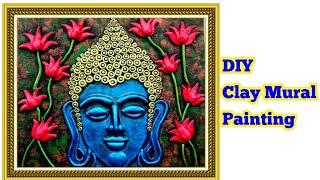 DIY Clay Mural Buddha on Canvas