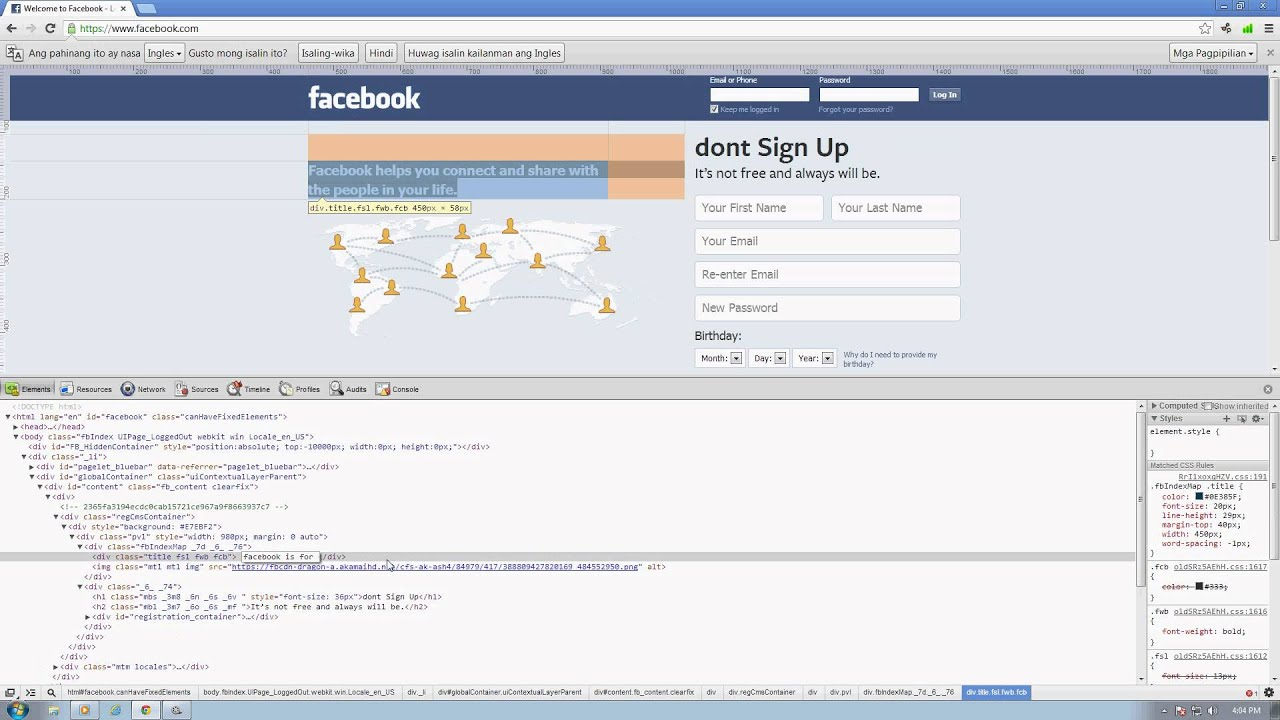 How to edit facebook using html easy way