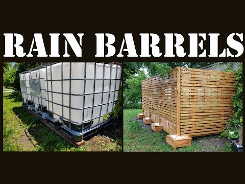 Rain Barrels using IBC Totes for Water Harvesting covered with Wooden Slats - Start to Finish Build