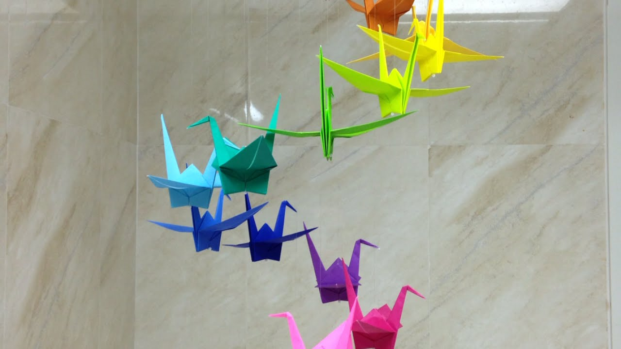 How To Make A Colorful Origami Crane Mobile Diy Home