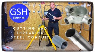 How to Cut and Thread Steel Conduit so a Coupler or Spouted box can be Fitted (Metal Conduit 20mm)