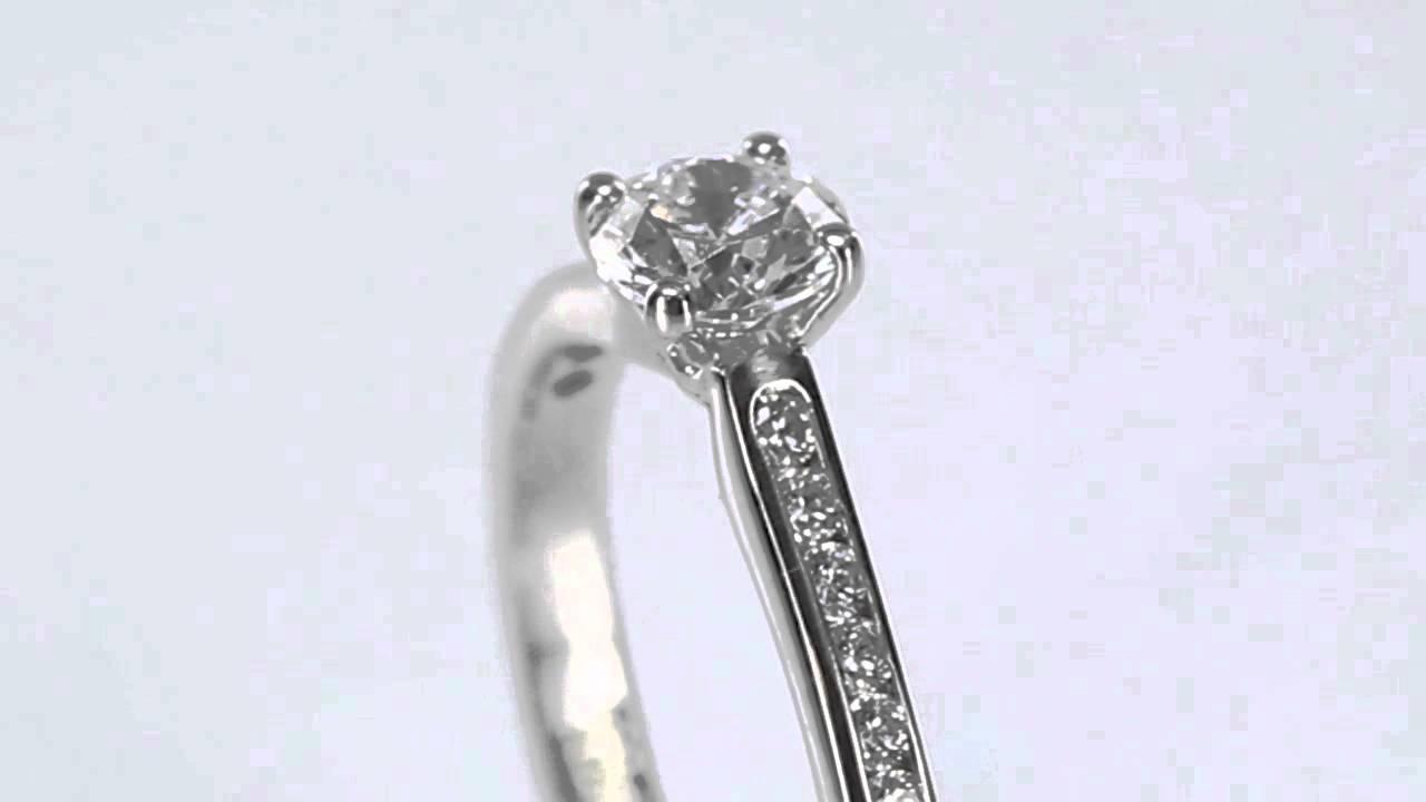 Four Prong Round Shoulder Set Engagement Ring Youtube