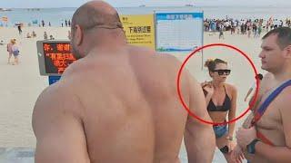 Кавказец офигел от Макса на пляже! Сила Удара
