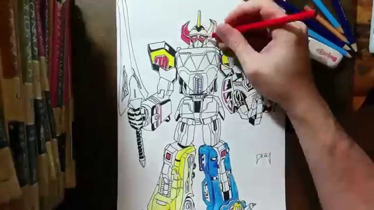 Dibujando Al Megazord Mighty Morphing Power Rangers