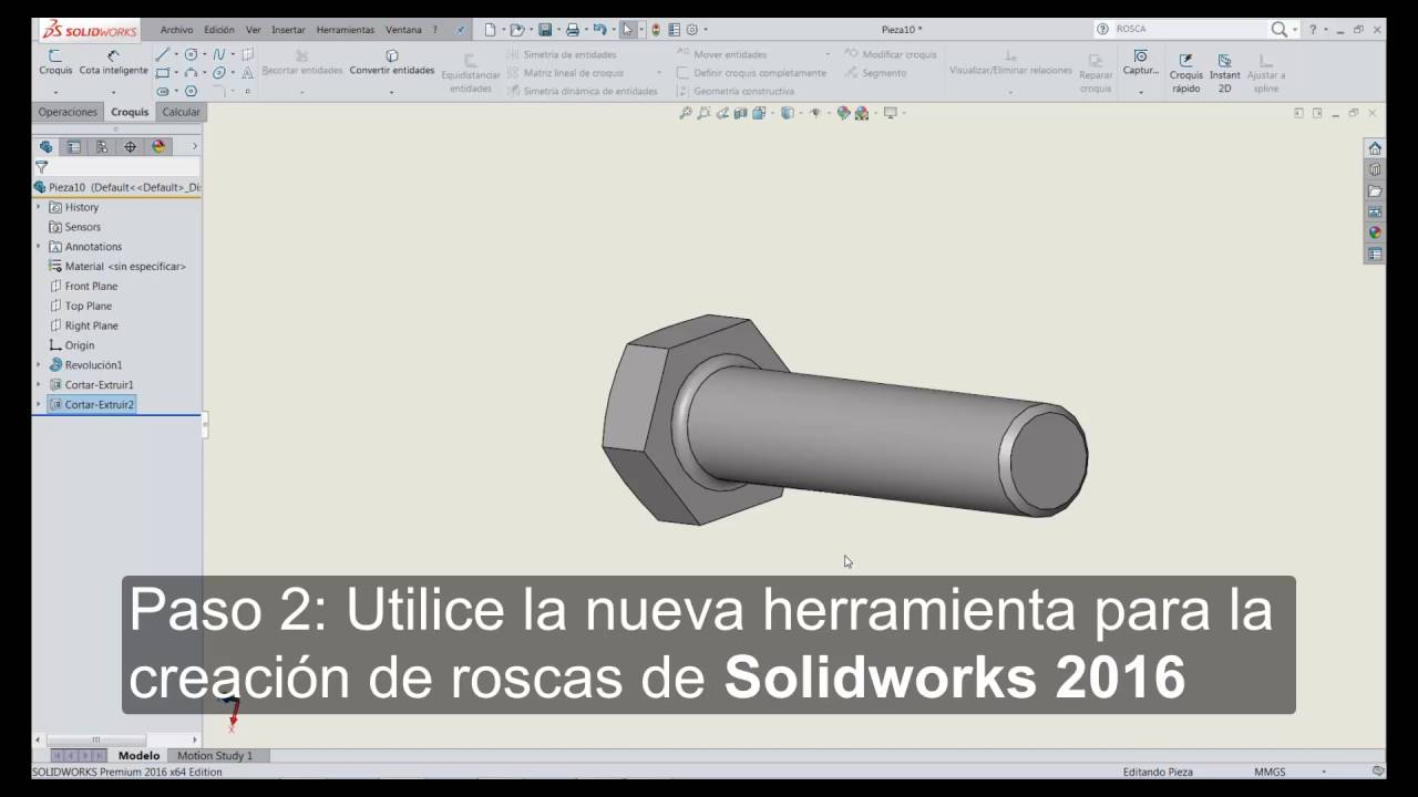 Creación De Un Tornillo En Solidworks 2016