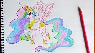 How to draw Pony Princess Celestia, Como dibujar  Celestia, Как нарисовать пони Принцесса Селестия