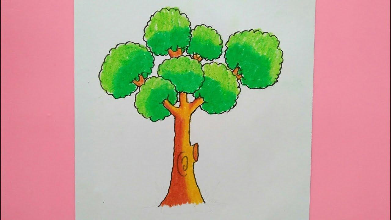 Cara Mudah Menggambar Dan Mewarnai Pohon Gradasi Warna Oil Pastel