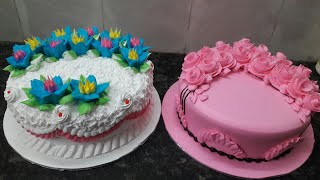 Butter scotch cake fancy 2 flowers cakes by New Cake wala