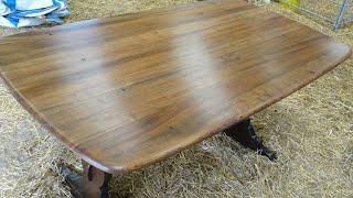 До и после обновление кухонного деревянного стола от  Dovna Enterprises