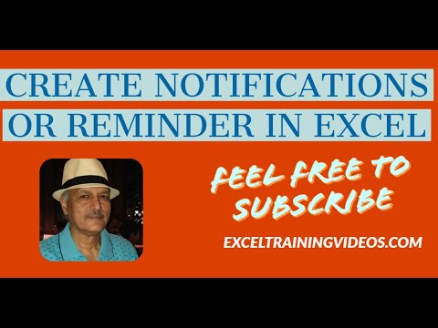 How to create notifications or reminders in Excel - YouTube