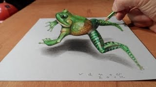 Drawing  a Jumping Frog - How to Draw 3D Frog  - Trick Art on Paper - Vamos
