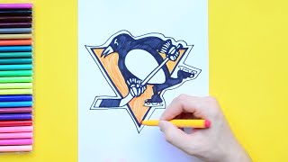 How to draw and color the Pittsburgh Penguins Logo - NHL Team Series