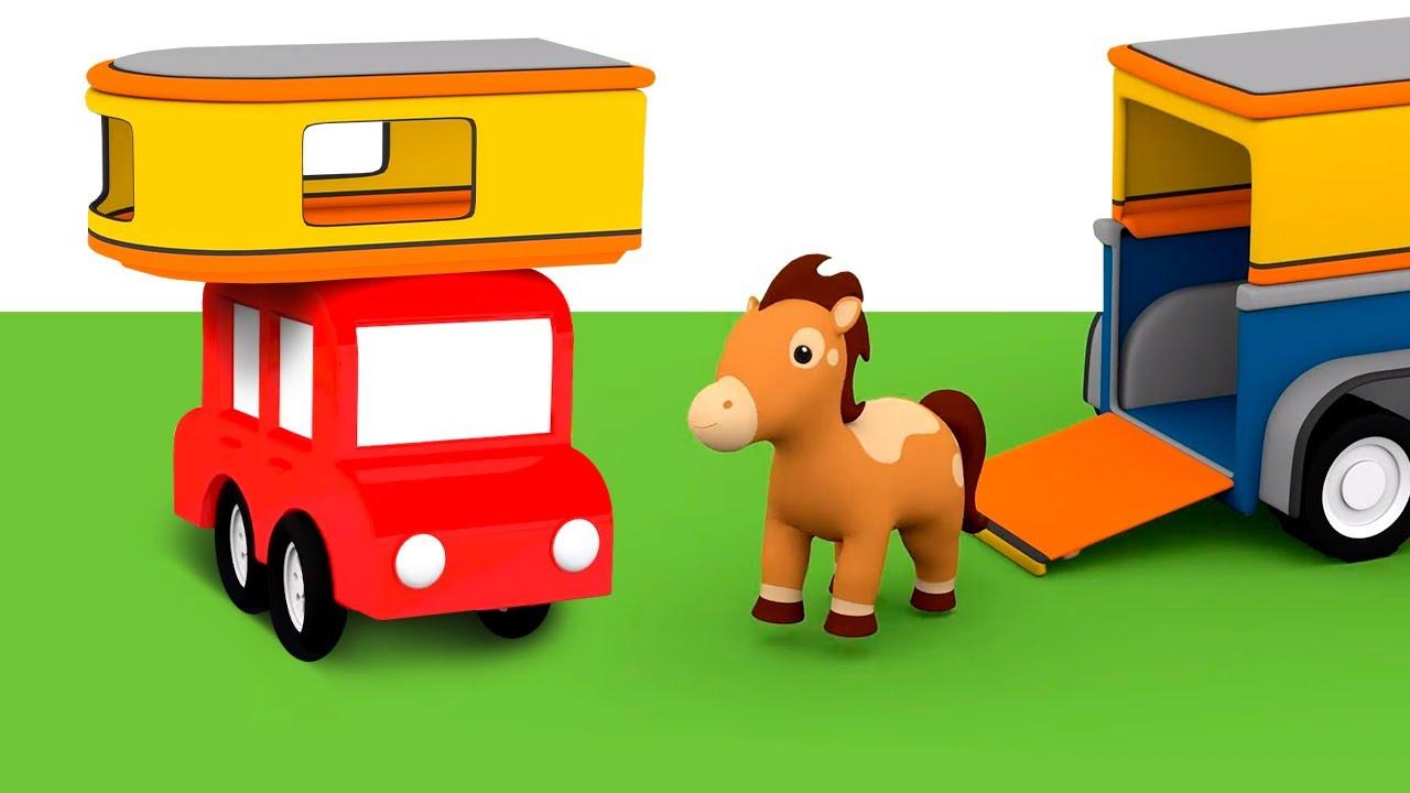 4 voitures colorées construisent un van pour le cheval. Dessin animé pour enfants.