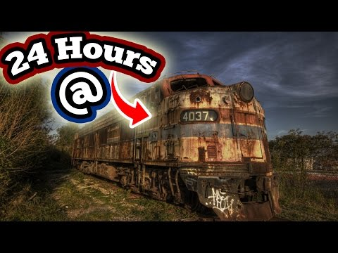 (WTF) 24 HOUR OVERNIGHT CHALLENGE IN ABANDONED TRAINS // 24 HOUR OVERNIGHT SNEAKING INTO TRAIN