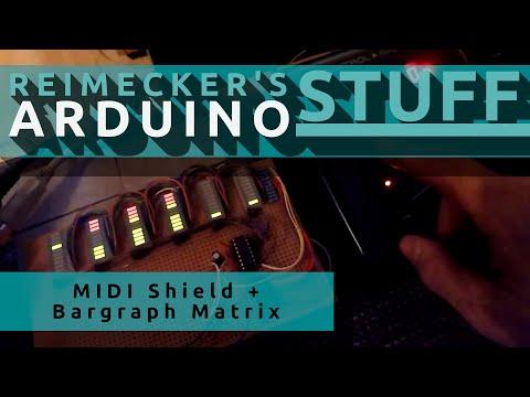 MIDI Shield + bargraph Matrix // 3rd test receive NRPN  // Video 3