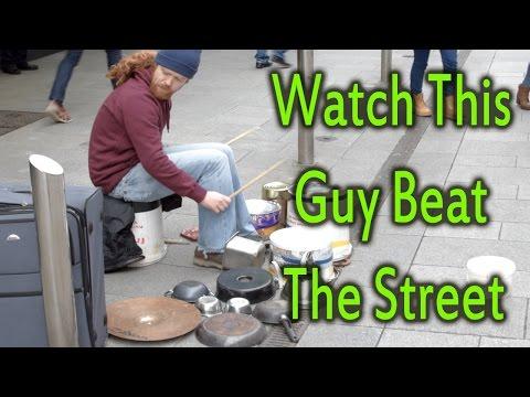 Irish Drummer's AMAZING beats on the Street using kitchen utensils
