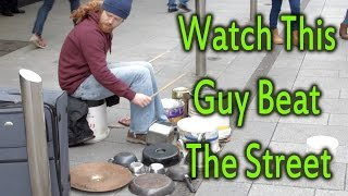 I watched this FANTASTIC Irish Drummer busking in Dublin city centr...