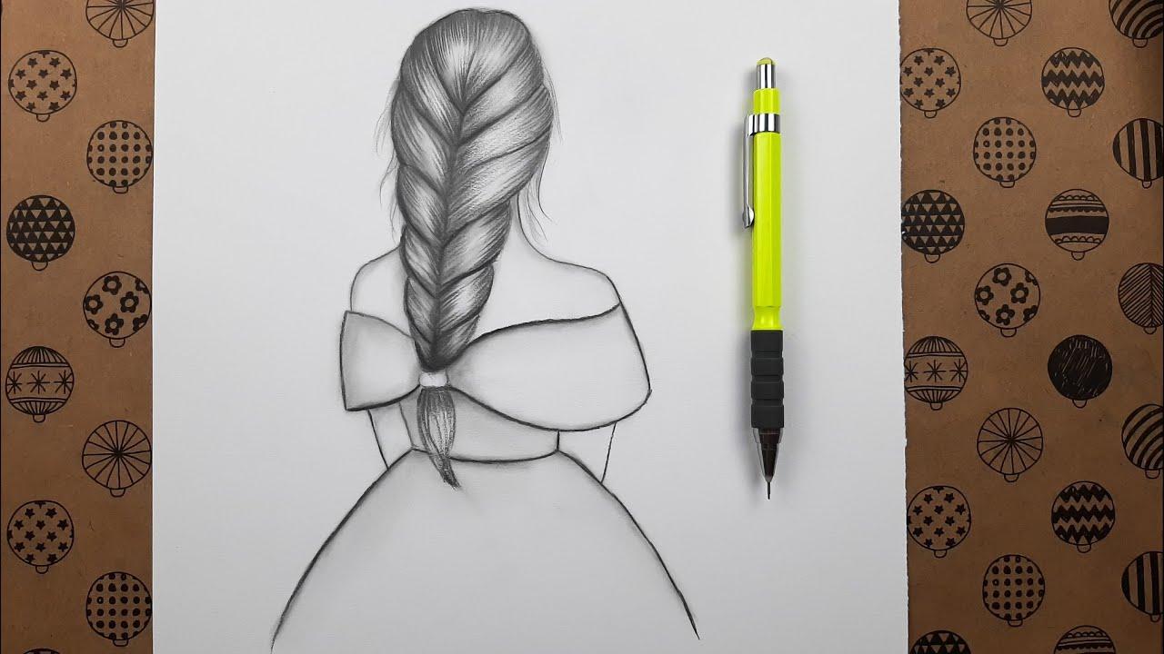 Örgü Saçlı Kız Çizimi Çizim Hobimiz Karakalem Çizimleri