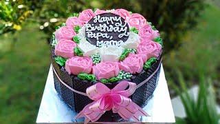 Download Video Cara menghias Blackforest flower cake || Cara membuat bunga mawar dengan buttercream MP3 3GP MP4