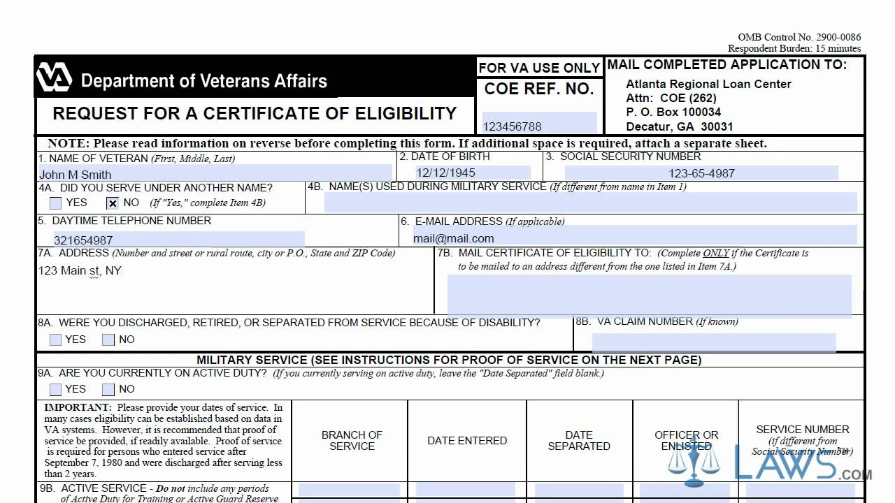 learn how to fill the va form 26 1880 form request for a certificate of eligibility