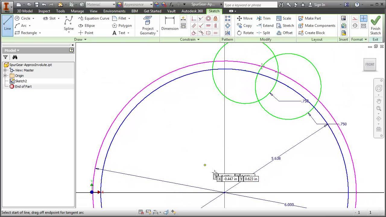 Spur Gear Approximate Involute Curve