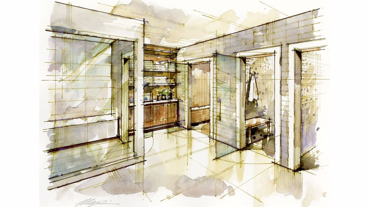 tutorial hand rendering interior 140921 golf practice facility m wet youtube. Black Bedroom Furniture Sets. Home Design Ideas