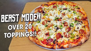 Undefeated 7lb Beast Mode Pizza Challenge w/ 21 Toppings!!