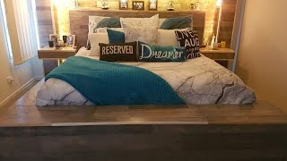 DIY Pallet Bed. Bed frame. Custom made, rustic, storage, King Bed, TV lift