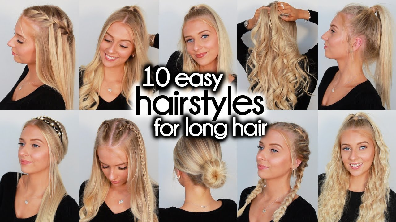 10 Easy Hairstyles For Long Hair Youtube
