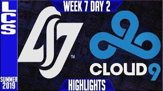 CLG vs C9 Highlights | LCS Summer 2019 Week 7 Day 2 | Counter Logic Gaming vs Cloud9