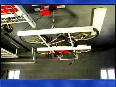 Overhead bike storage & Overhead bike storage - YouTube