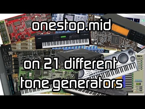 OneStop.mid played on 21 different tone generators