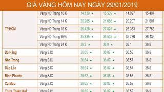 GIÁ VÀNG HÔM NAY NGÀY 29/1/2019 - Vàng SJC  - PNJ - DOJI - Vàng GOLD - vàng thế giới -vàng 9999