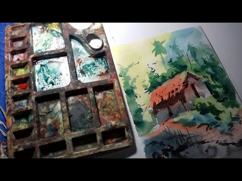 simple watercolor landscape painting tutorial || usa class
