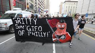 Philly protesters use Gritty to send a message to President Trump