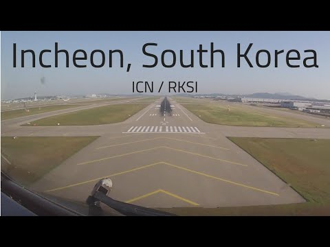 Cockpit view Boeing 757 landing Incheon, Seoul, South Korea (ICN/RKSI)