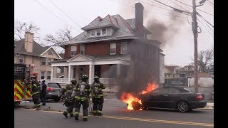 Paterson NJ Fire Department operates at a Car fire 231 E 30th St near Broadway Jan 29th 2018