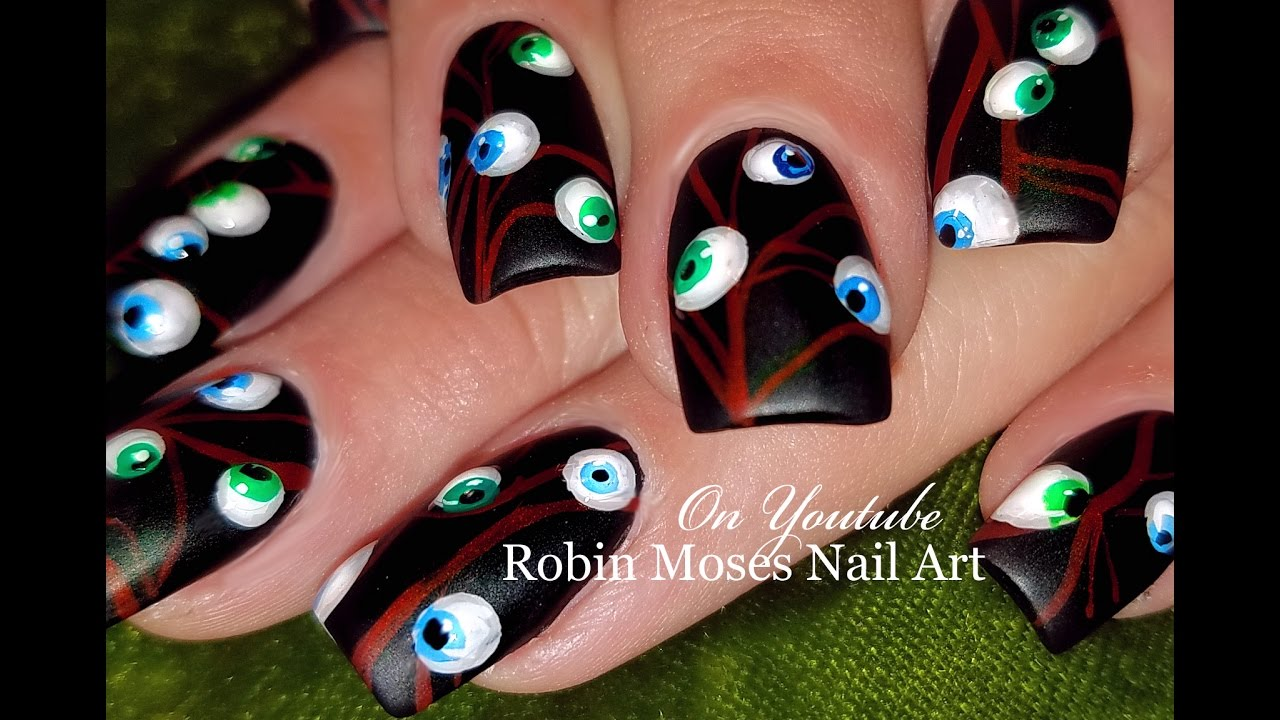 Easy Halloween Nails | Eyeballs 3d with Gel Nail Art Design Tutorial ...