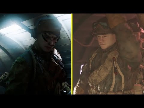 Call of Duty WWII vs Battlefield V - Airborne Parachute Landing Sequence Comparison thumbnail