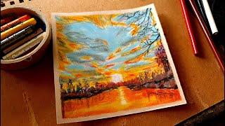 夕日の風景を描く方法  - 簡単オイルパステル