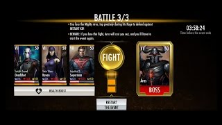 INJUSTICE MOBILE: HOW TO BEAT BOSS ARES AND COMPLETE THE GOLD BREAKTHROUGH !!!