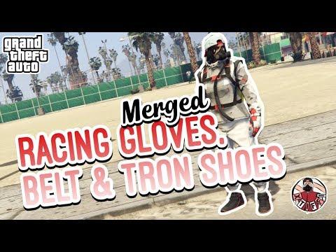 GTA5   Female Merge Components: Racing Belt, Gloves, and Tron Shoes (MERGE SHIRT)