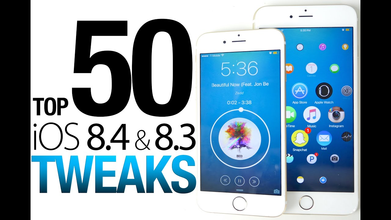 Top 50 iOS 8.4 & 8.3 Cydia Tweaks Of ALL Time - 8.4 Taig Jailbreak  Compatible - YouTube