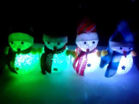 Mu ecos de navidad con luces youtube - Munecos de navidad ...
