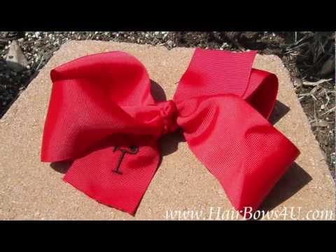 Personalized Embroidered Big Red Grosgrain School Girl's Hair Bow - video clip