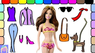 Play Dress Up With Barbie For A Day Of Shopping With Her Dog Fun Barbie Coloring Page