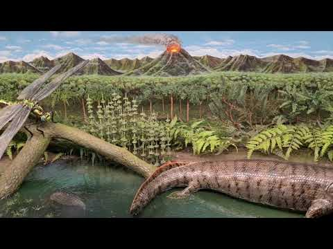 Prehistoric diorama Devonian to the Carboniferous.