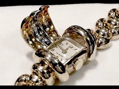 0.48ct Diamond & 18ct Yellow Gold Ladies Watch - Art Deco - Vintage Circa 1940 AC Silver A1555