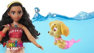 Best Learning Colors for Children: Paw Patrol Skye & Chase Become Merpups & Moana in Swimming pool